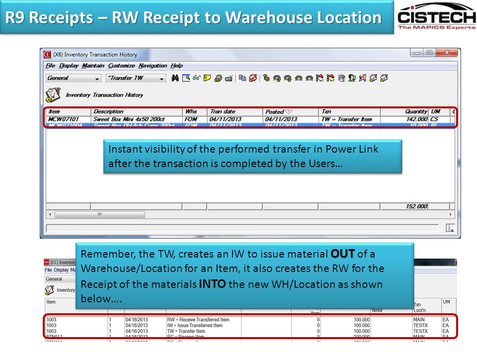 R9 Receipts – RW Receipt to Warehouse Location