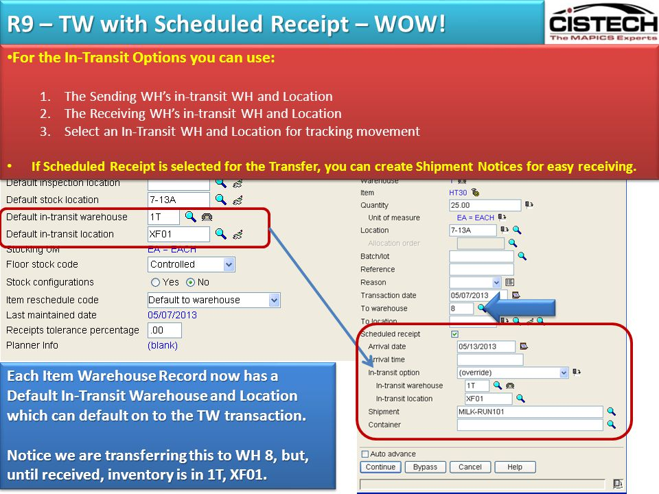 R9 – TW with Scheduled Receipt – WOW!
