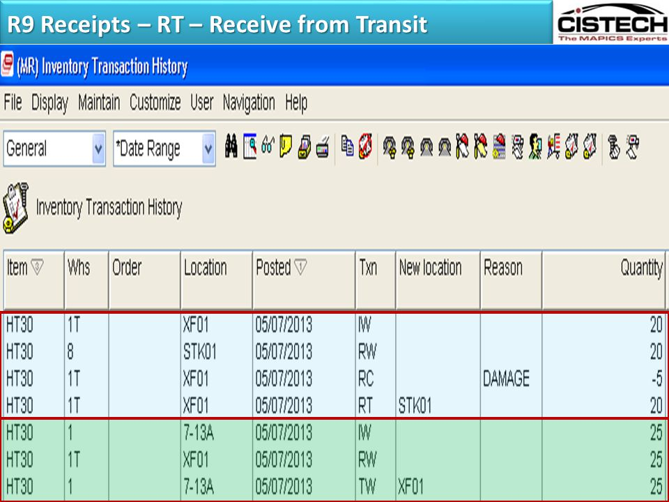 R9 Receipts – RT – Receive from Transit