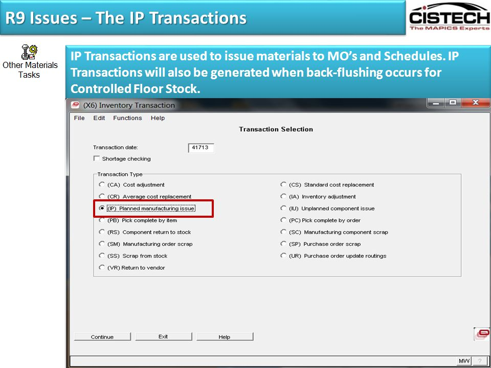 R9 Issues – The IP Transactions