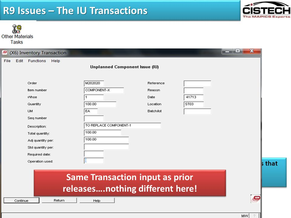 R9 Issues – The IU Transactions