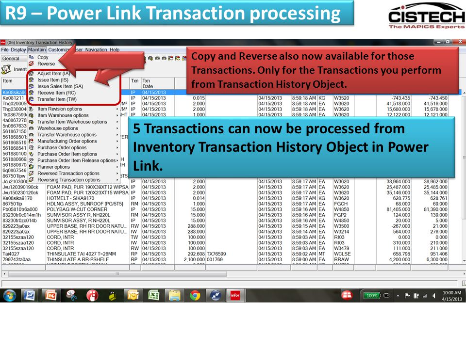 R9 – Power Link Transaction processing