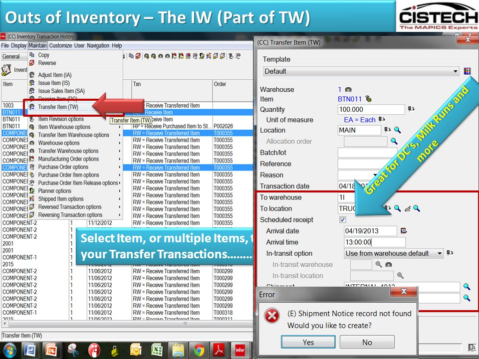 Outs of Inventory – The IW (Part of TW)