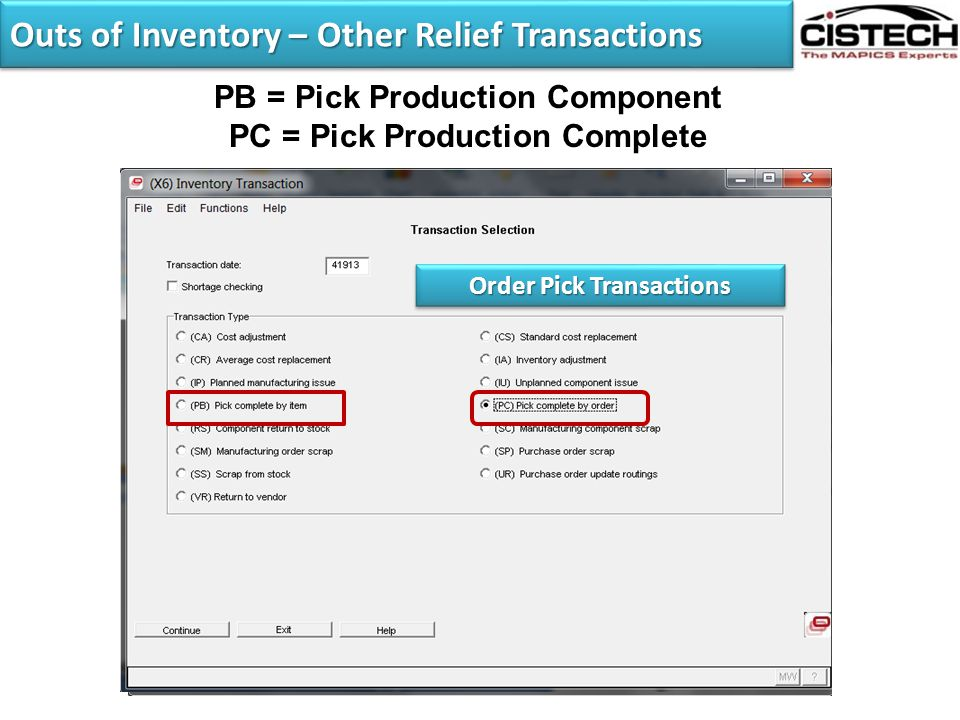 Outs of Inventory – Other Relief Transactions
