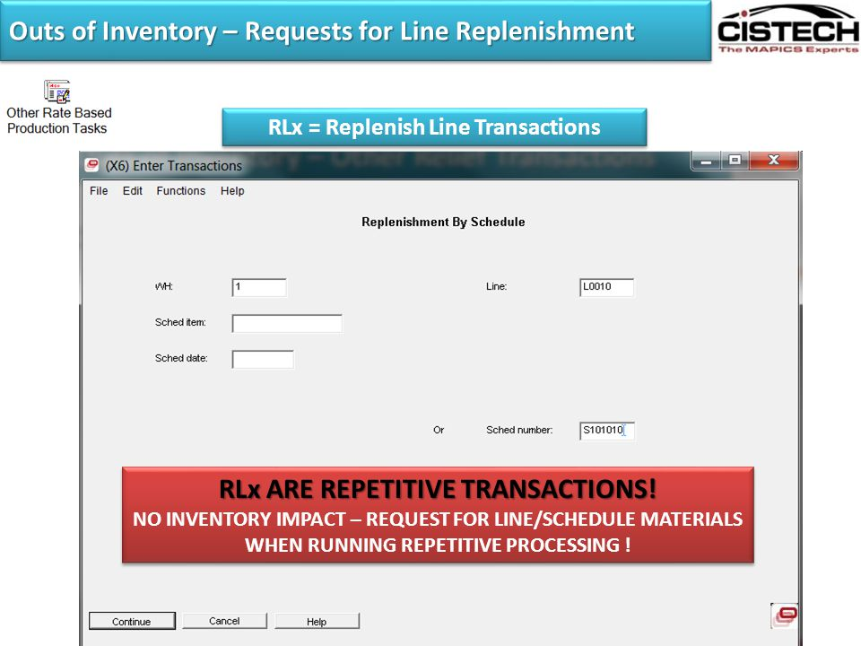 Outs of Inventory – Requests for Line Replenishment