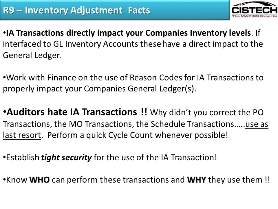 R9 – Inventory Adjustment Facts