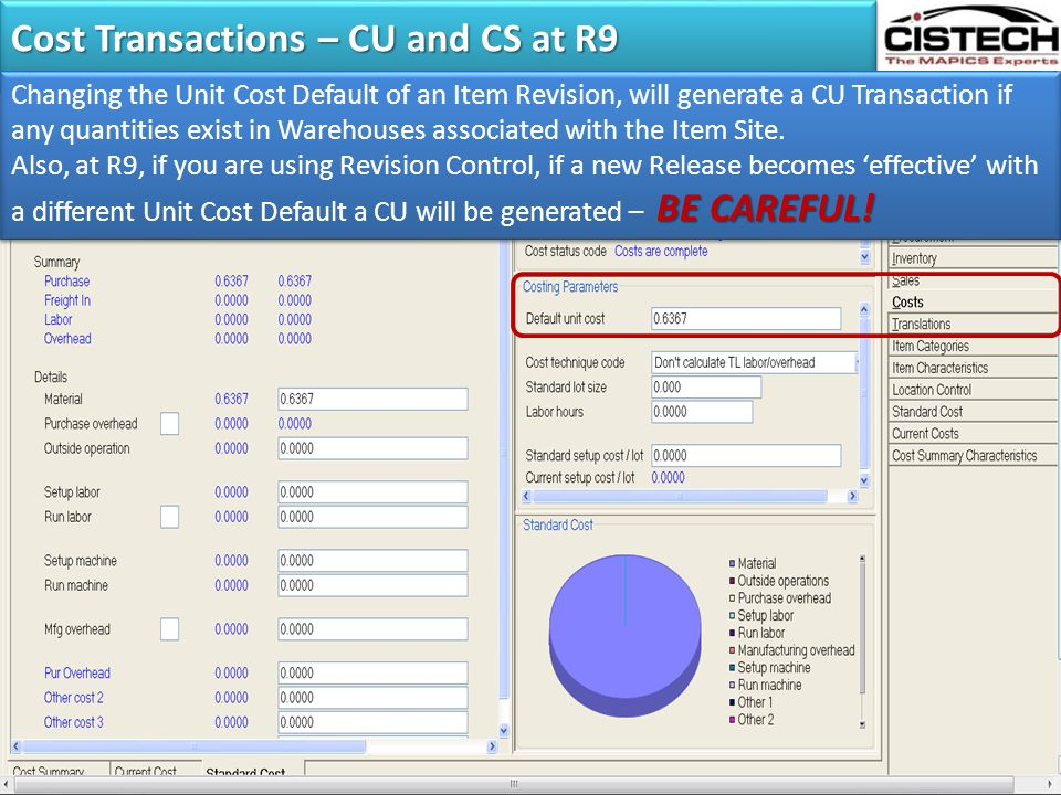 Cost Transactions – CU and CS at R9