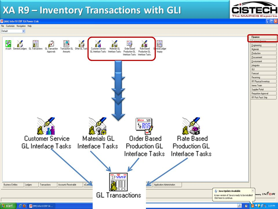 XA R9 – Inventory Transactions with GLI