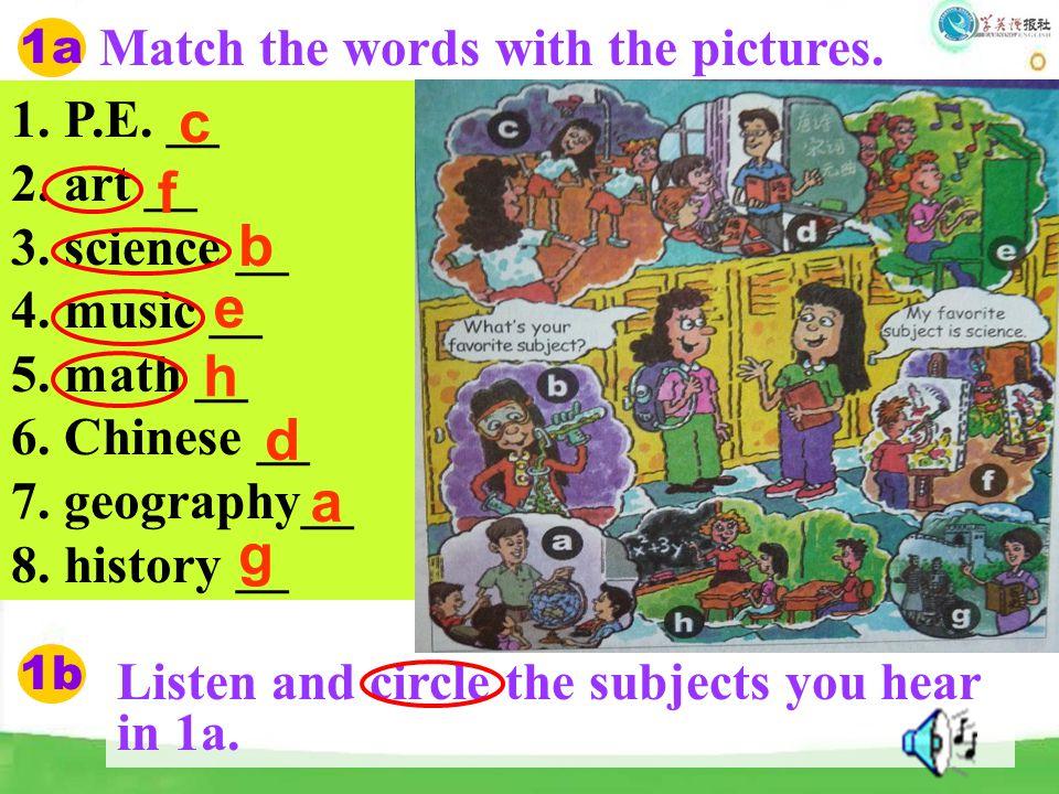 c f b e h d a g Match the words with the pictures. 1. P.E. __