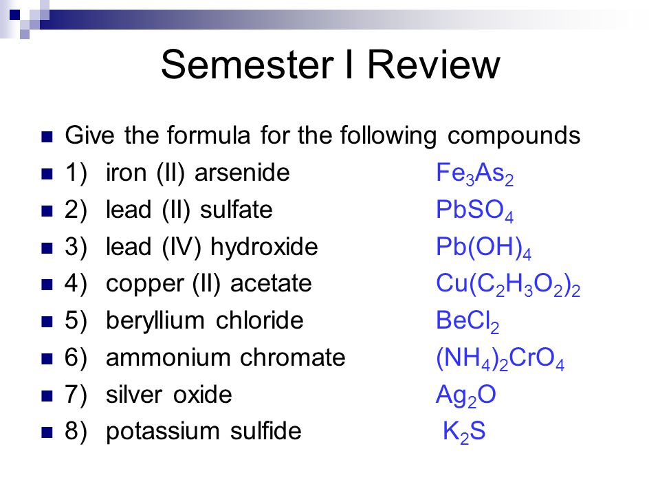 Semester I Review Give the formula for the following compounds