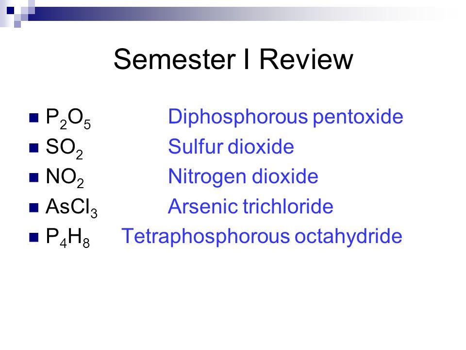 Semester I Review P2O5 Diphosphorous pentoxide SO2 Sulfur dioxide