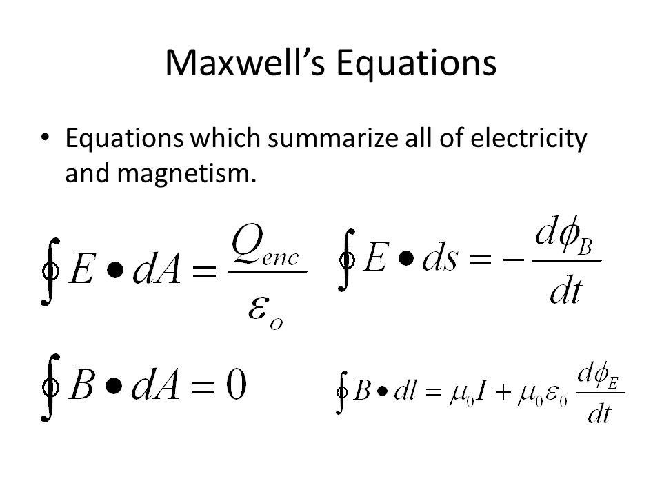 Maxwell's Equations Equations which summarize all of electricity and magnetism.
