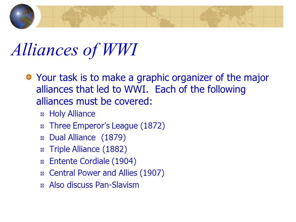 Alliances of WWI Your task is to make a graphic organizer of the major alliances that led to WWI. Each of the following alliances must be covered: