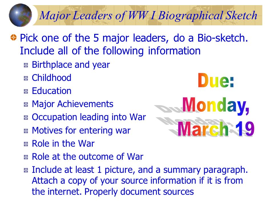 Major Leaders of WW I Biographical Sketch
