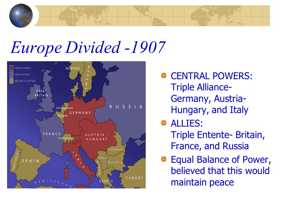 Europe Divided -1907 CENTRAL POWERS: Triple Alliance- Germany, Austria-Hungary, and Italy.