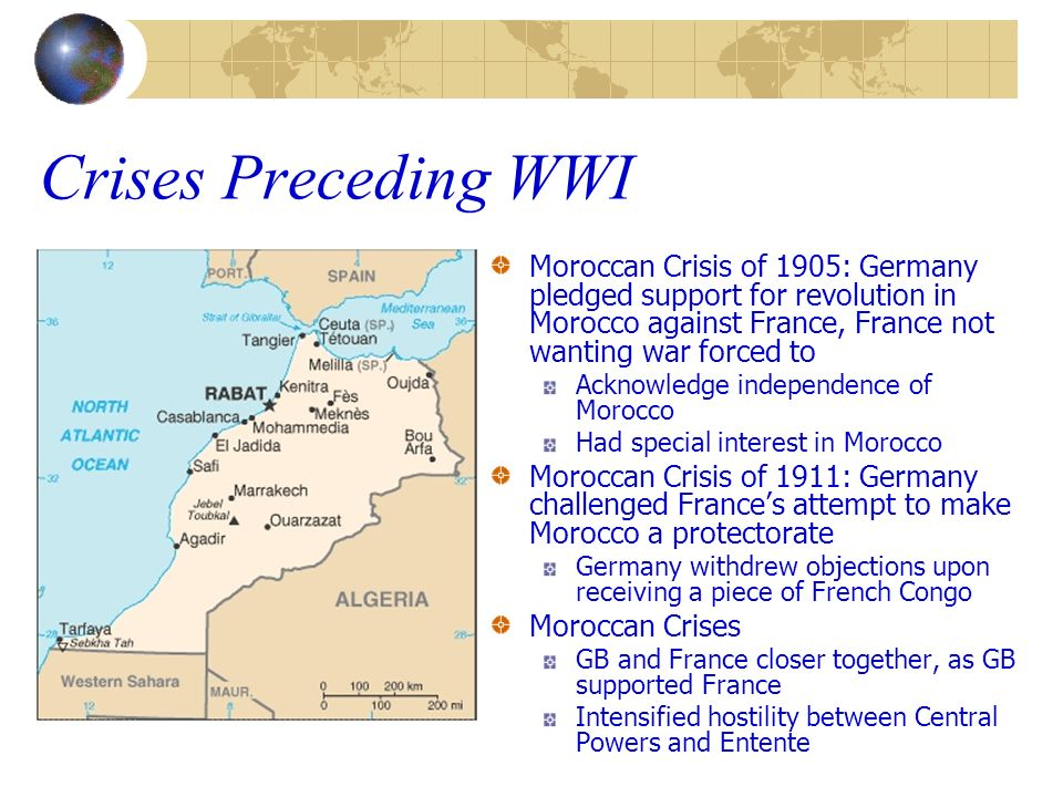 Crises Preceding WWI Moroccan Crisis of 1905: Germany pledged support for revolution in Morocco against France, France not wanting war forced to.
