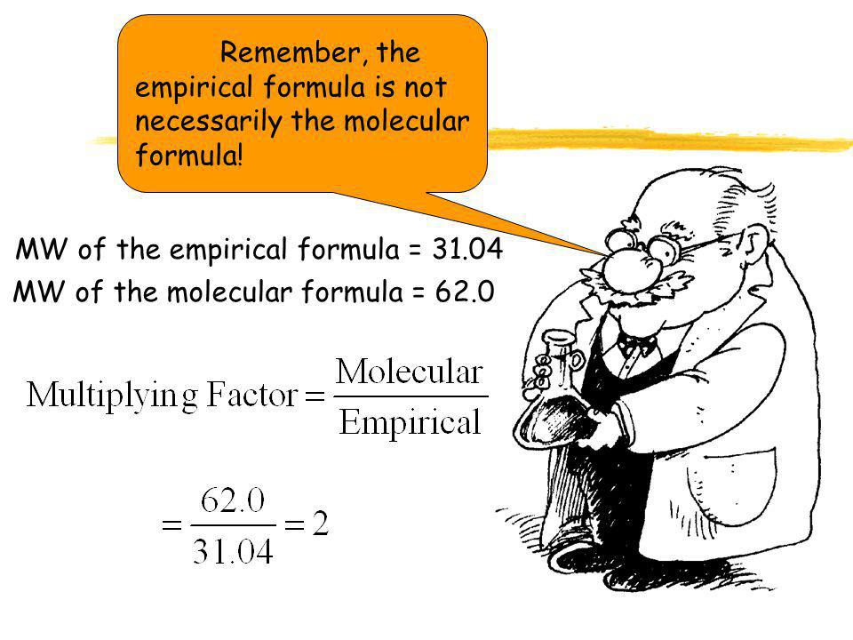 Remember, the empirical formula is not necessarily the molecular formula!