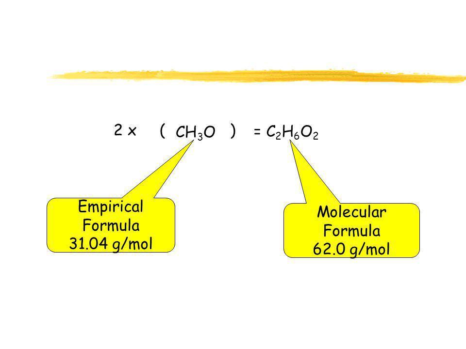 2 x ( ) CH3O = C2H6O2 Empirical Formula 31.04 g/mol Molecular Formula 62.0 g/mol