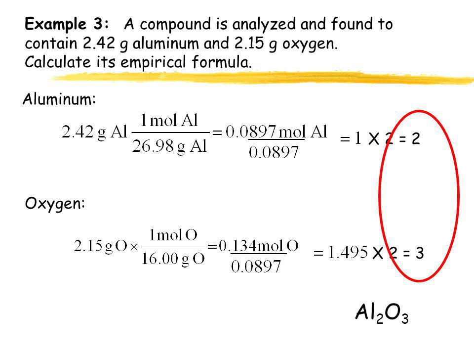 Example 3: A compound is analyzed and found to contain 2