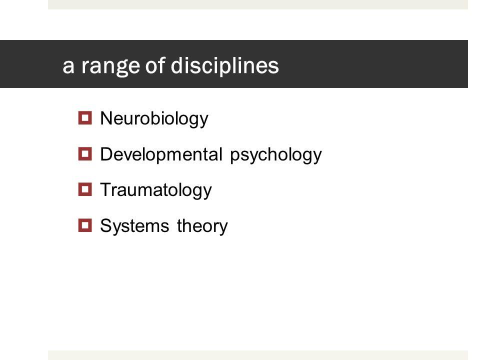 a range of disciplines Neurobiology Developmental psychology