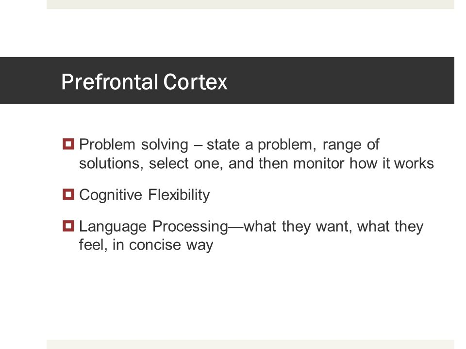 Prefrontal Cortex Problem solving – state a problem, range of solutions, select one, and then monitor how it works.