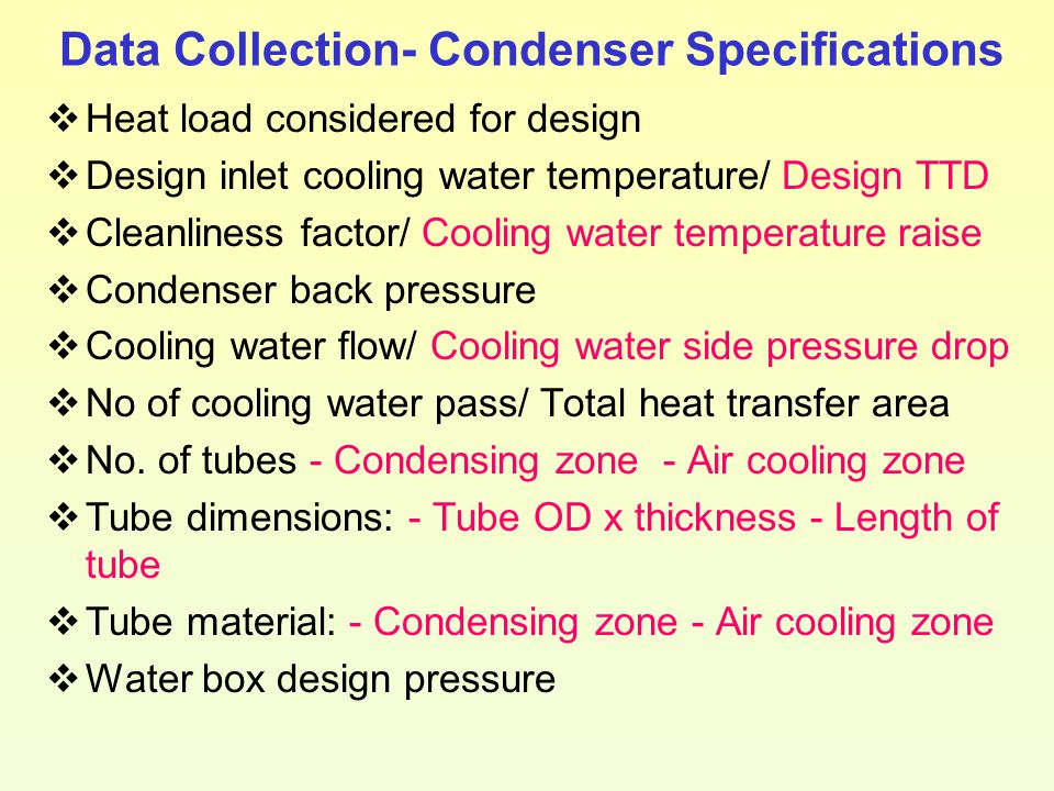 Data Collection- Condenser Specifications