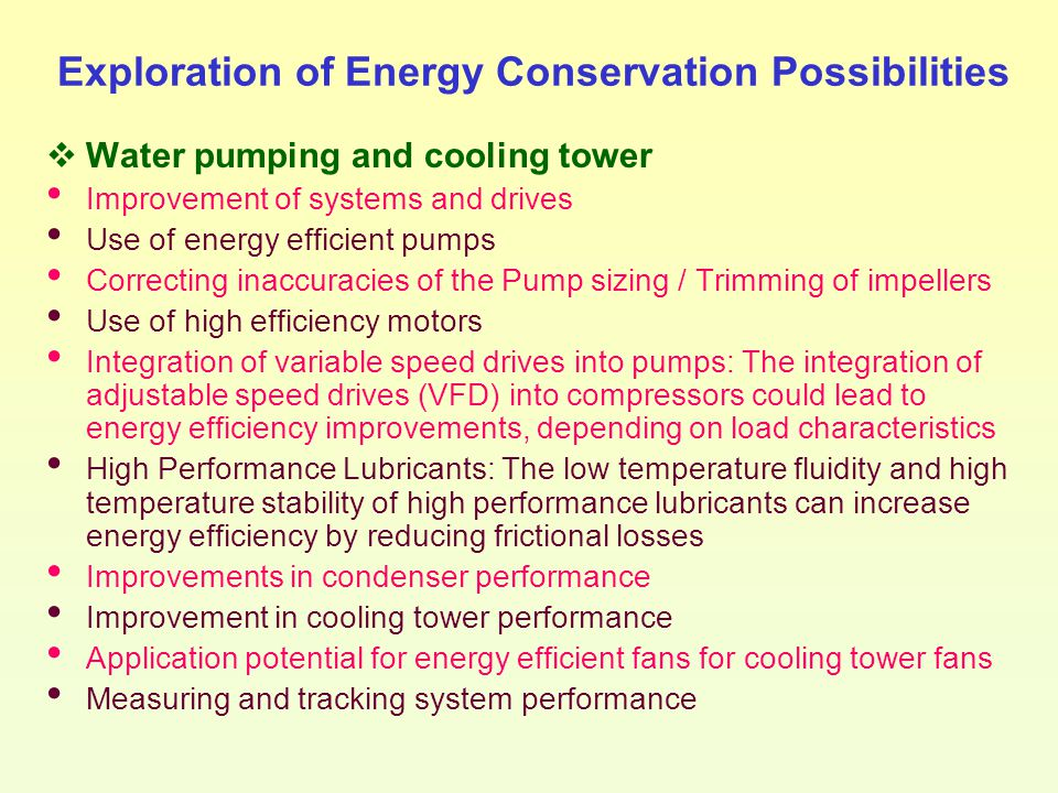Exploration of Energy Conservation Possibilities