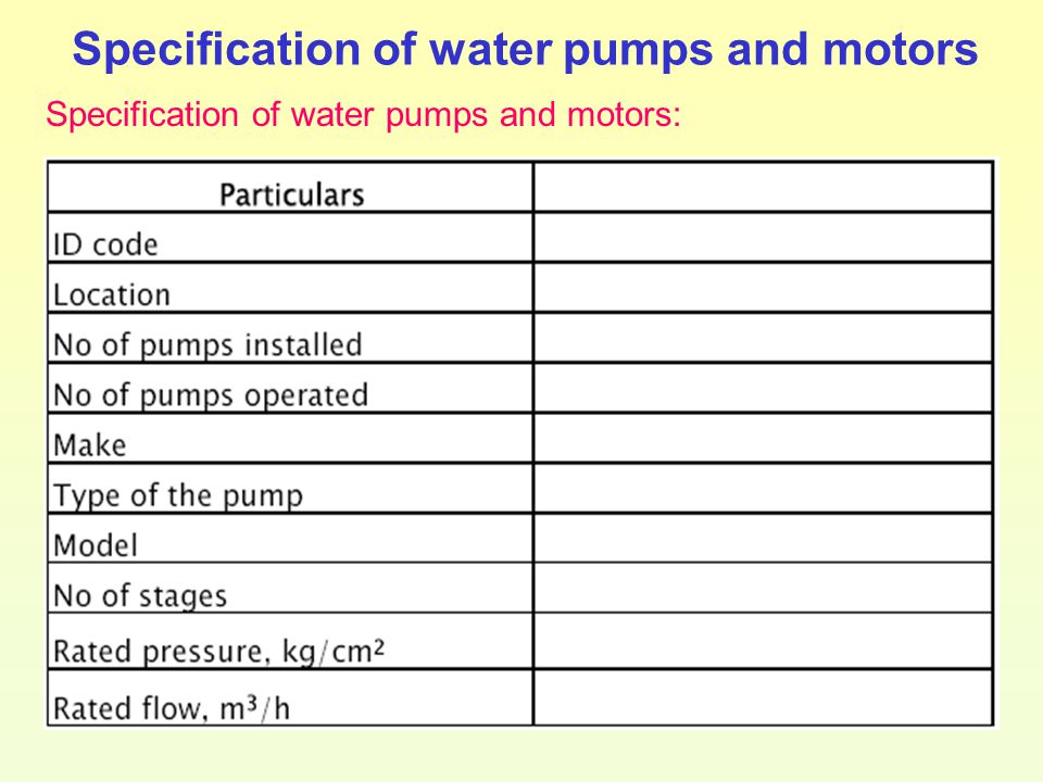 Specification of water pumps and motors