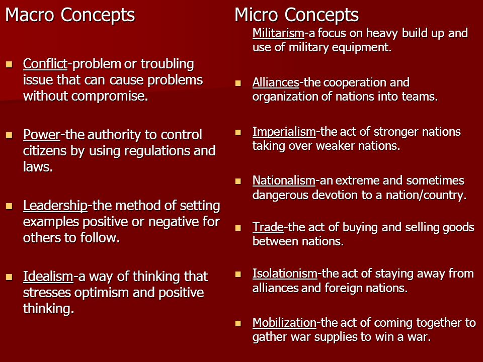 Macro Concepts Conflict-problem or troubling issue that can cause problems without compromise.