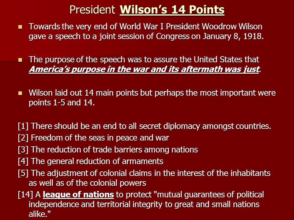President Wilson's 14 Points