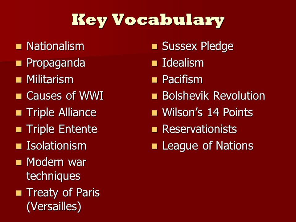 Key Vocabulary Nationalism Propaganda Militarism Causes of WWI