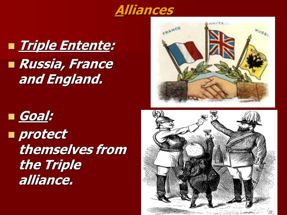 Alliances Triple Entente: Russia, France and England.