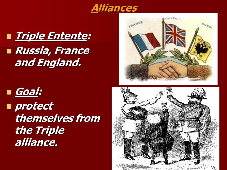 AlliancesTriple Entente: Russia, France and England.