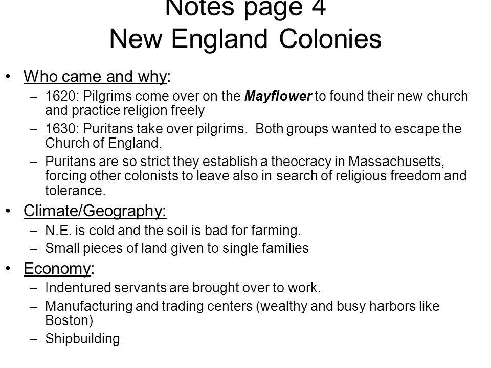 Notes page 4 New England Colonies