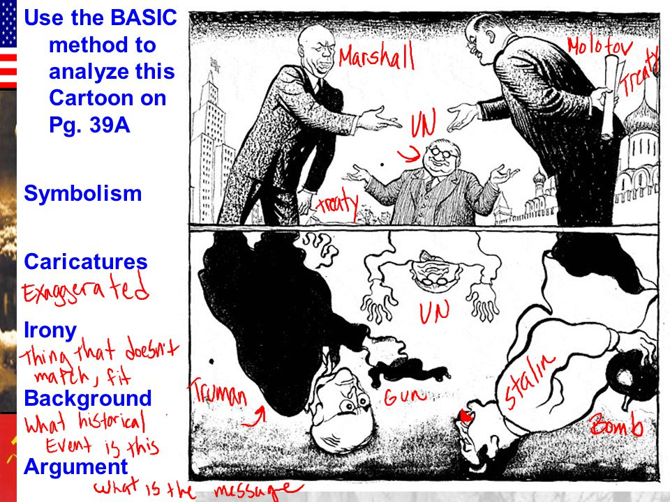 Use the BASIC method to analyze this Cartoon on Pg. 39A