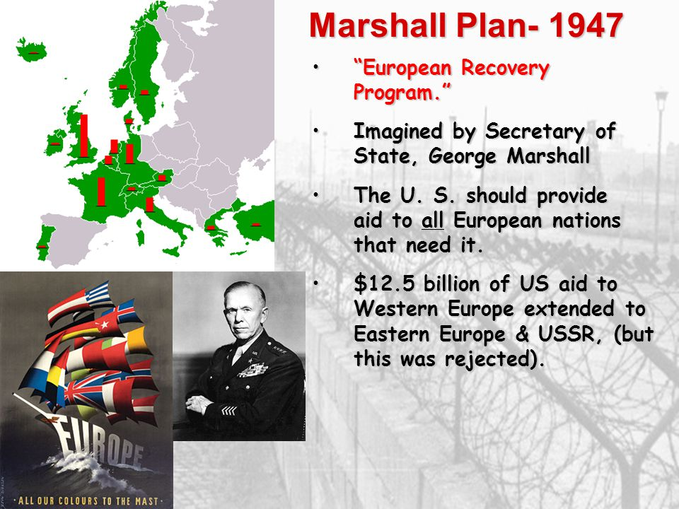Marshall Plan- 1947 European Recovery Program.