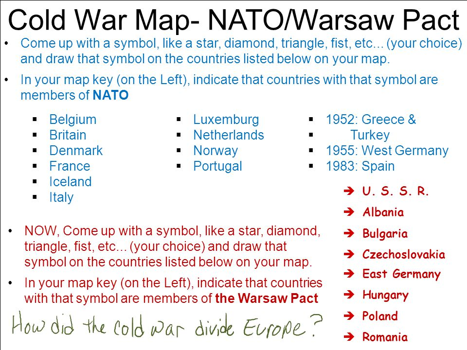 Cold War Map- NATO/Warsaw Pact