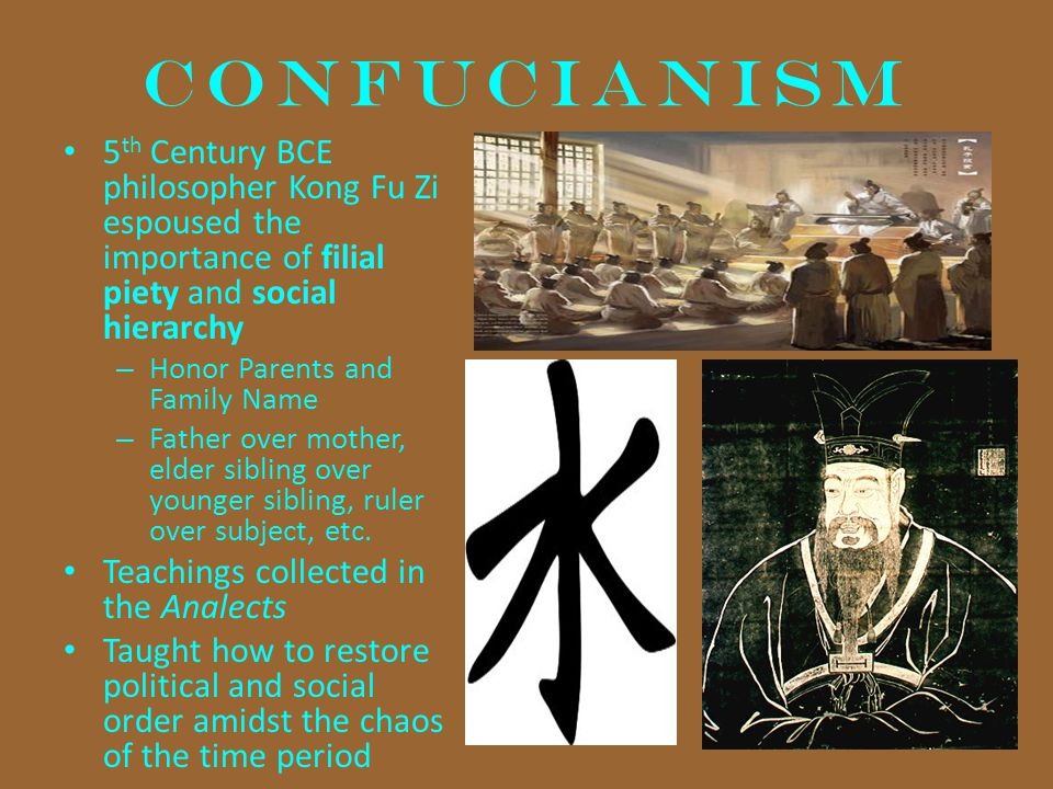 CONFUCIANISM 5th Century BCE philosopher Kong Fu Zi espoused the importance of filial piety and social hierarchy.