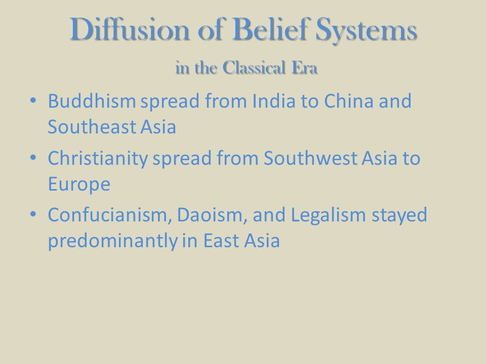 Diffusion of Belief Systems in the Classical Era