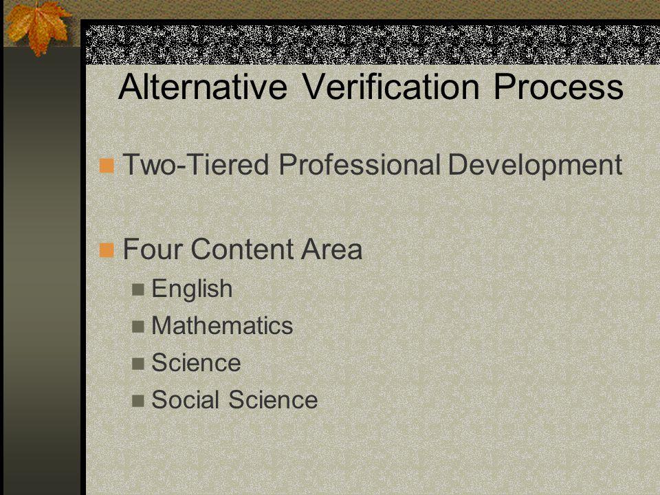 Alternative Verification Process