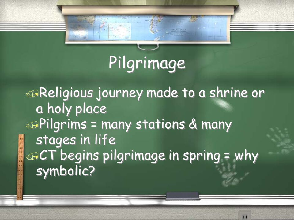 Pilgrimage Religious journey made to a shrine or a holy place