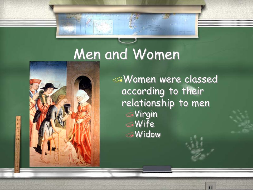 Men and Women Women were classed according to their relationship to men Virgin Wife Widow