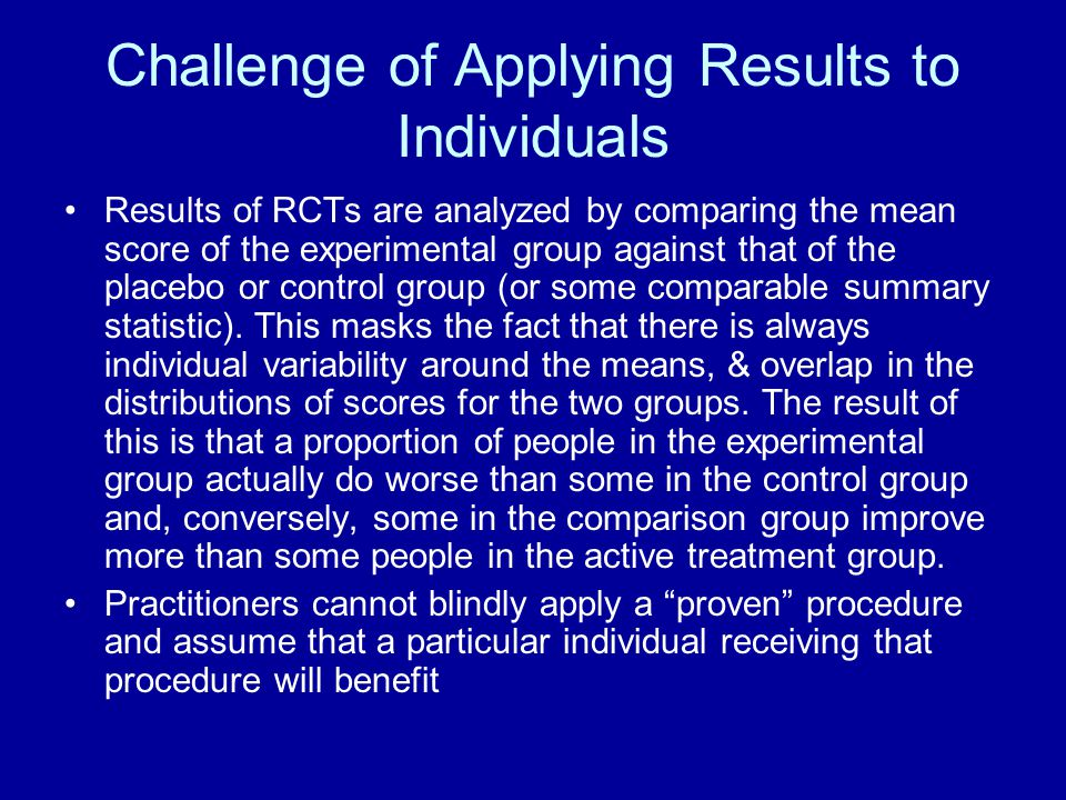 Challenge of Applying Results to Individuals