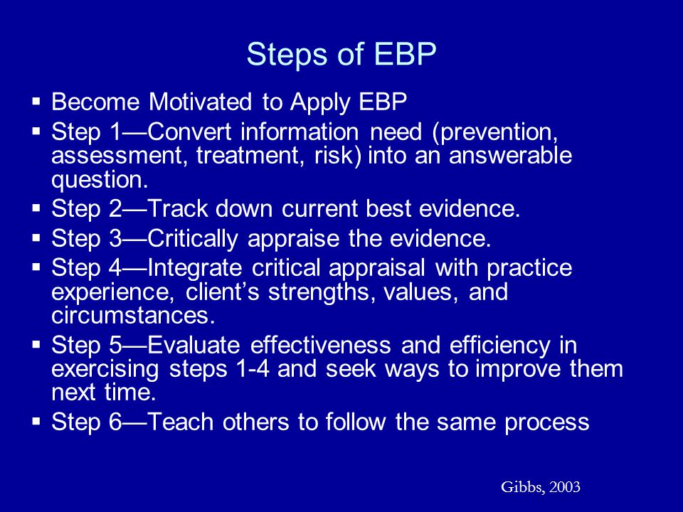Steps of EBP Become Motivated to Apply EBP