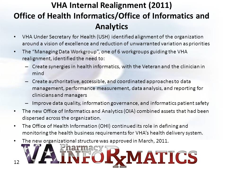 VHA Internal Realignment (2011) Office of Health Informatics/Office of Informatics and Analytics