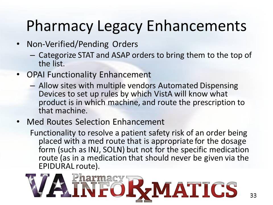 Pharmacy Legacy Enhancements