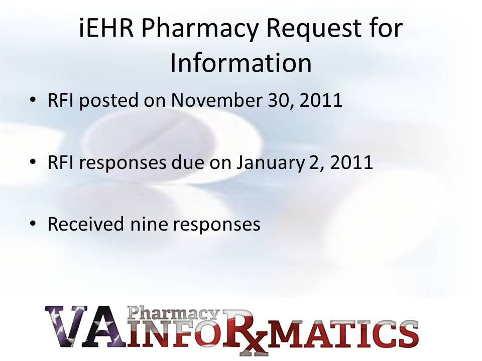 iEHR Pharmacy Request for Information
