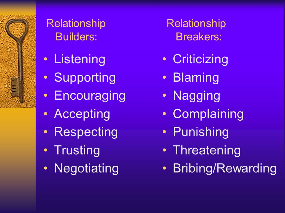 Relationship Relationship Builders: Breakers: