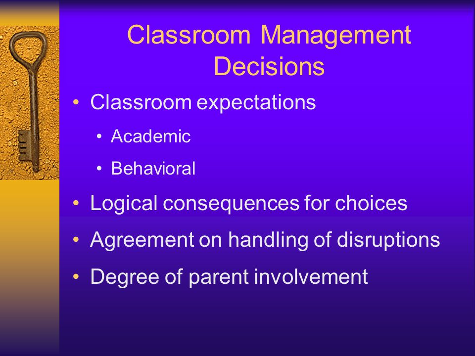 Classroom Management Decisions