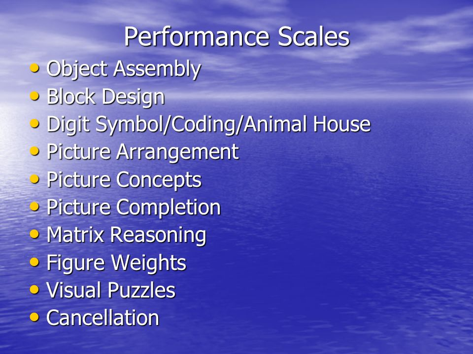 Performance Scales Object Assembly Block Design